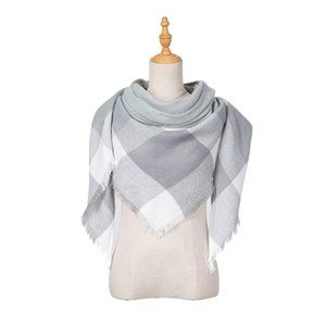White Plaid Triangle Lightweight Lace Scarf